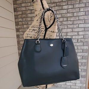 Coach Peyton black handbag purse metal handle
